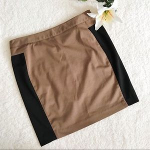 ! Kenar Color Block Mini Skirt Brown Black BB6